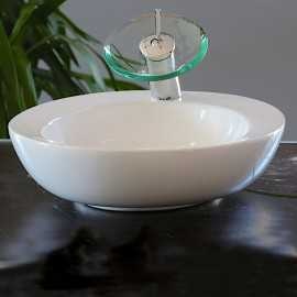 Vasque à poser ovale céramique blanc - 56x46 cm - Art