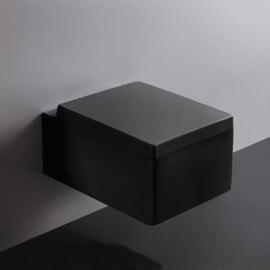 WC Suspendu Rectangulaire - Avec Abattant - Céramique Noir Brillant - 52x39 cm - Kube | Rue du Bain
