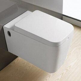 WC Suspendu carré, 57x34 cm, Blanc, avec Abattant, Line