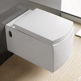 WC Suspendu Rectangulaire - Avec Abattant - Céramique Blanc - 58x38 cm - Profile