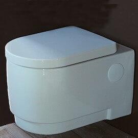WC Suspendu Rond - Avec Abattant - Céramique Blanc - 56x37 cm - Natural