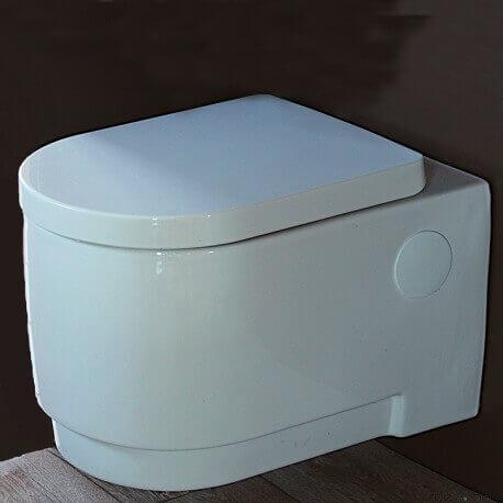WC Suspendu Ronde, 56x37 cm, Blanc, avec Abattant, Natural