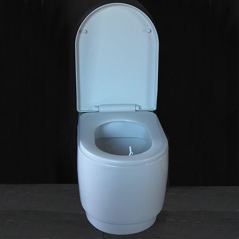 Cuvette wc suspendue design ronde 56x37x40 blanc avec abattant natural - Abattant wc avec reducteur integre ...