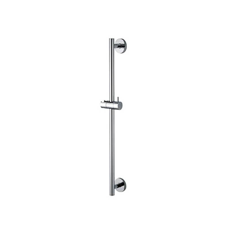 Barre de douche ronde inox chrom avec porte douchette - Barre rideau de douche ronde ...