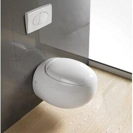 WC Suspendu Œuf, 59x41 cm, Blanc, avec Abattant, Ove