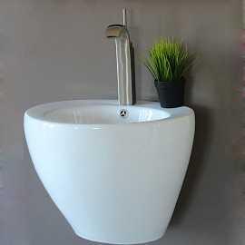 Lavabo Totem Suspendu Rond - Céramique Blanc - 50 cm - Style