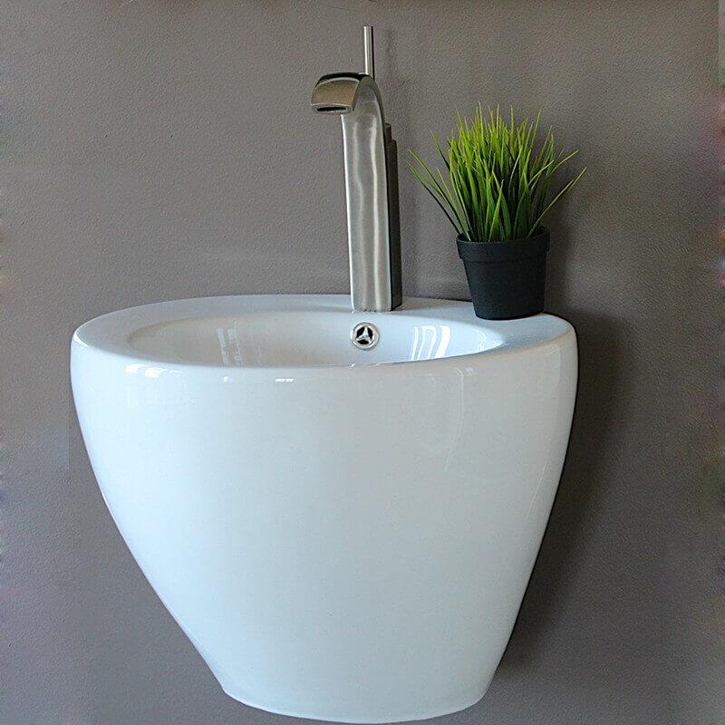 Lavabo totem rond suspendu 50x50x40 cm c ramique blanc style - Lavabo ceramique blanc ...