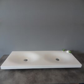 Lavabo Suspendu Double Vasque - Solid surface Blanc Mat - 120x45 cm - Epure