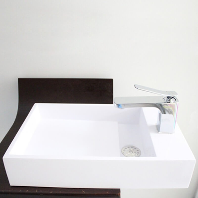 lave main rectangulaire 48x30x15 cm composite corian blanc grafic. Black Bedroom Furniture Sets. Home Design Ideas