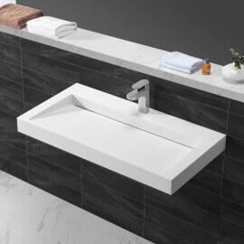 Lavabo suspendu rectangullaire Blanc Mat Composite 90x45 cm, Stance