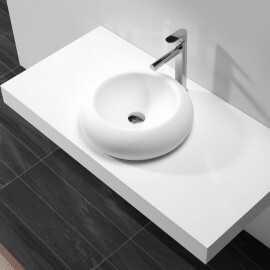 Vasque à Poser Galet - Solid surface Blanc Mat - 45x45 cm - Allure