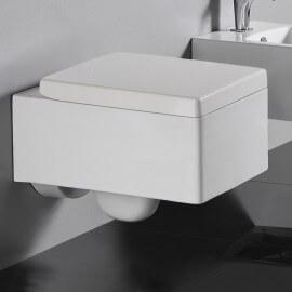 WC Suspendu Rectangulaire, 52x39 cm, blanc, avec Abattant, Kube