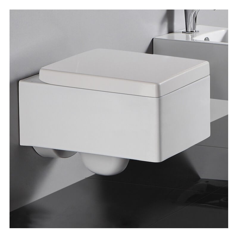 Wc suspendu rectangulaire 52x39 cm blanc avec abattant - Pack wc suspendu noir ...