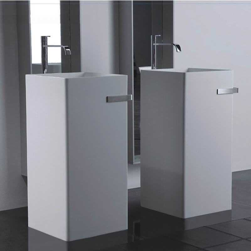 lavabo totem carr c ramique 40x85 cm alto lavabo totem rue du bain. Black Bedroom Furniture Sets. Home Design Ideas