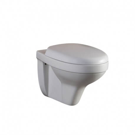 WC Suspendu Ovale, 56x35 cm, Blanc, avec Abattant, Cottage