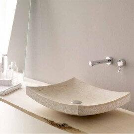 Vasque à Poser Rectangulaire - Pierre Beige - 50x40 cm - Profil