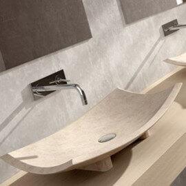 Vasque à poser bol pierre beige Plume | Rue du Bain