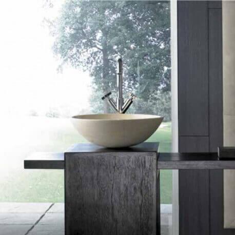 Vasque à poser ronde pierre beige Lovely | Rue du Bain