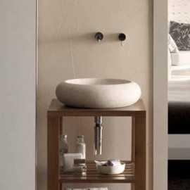 Vasque à poser galet pierre beige, 45x45 cm, Atoll