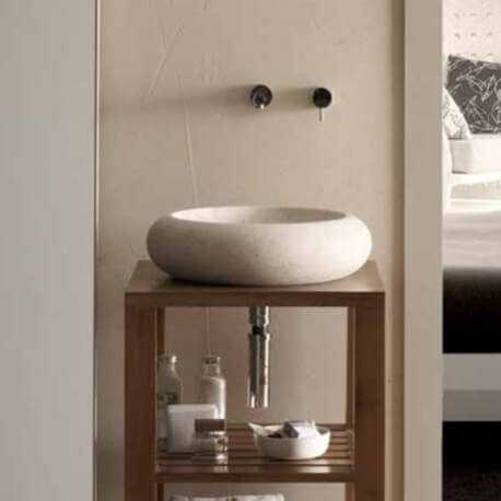Vasque à poser galet pierre beige | Rue du Bain
