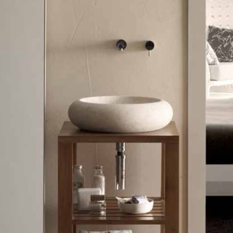 vasque galet Vasque à poser galet pierre beige Atoll | Rue du Bain ...
