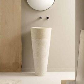 Lavabo totem rond en pierre beige - 90x40 cm - Ultime
