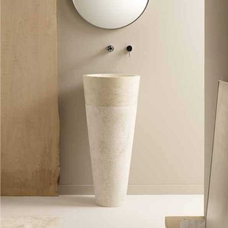 lavabo totem rond en pierre beige ultime lavabo totem rue du bain. Black Bedroom Furniture Sets. Home Design Ideas