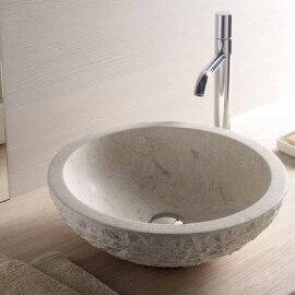 Vasque à poser bol pierre beige, 45x45 cm, Strass