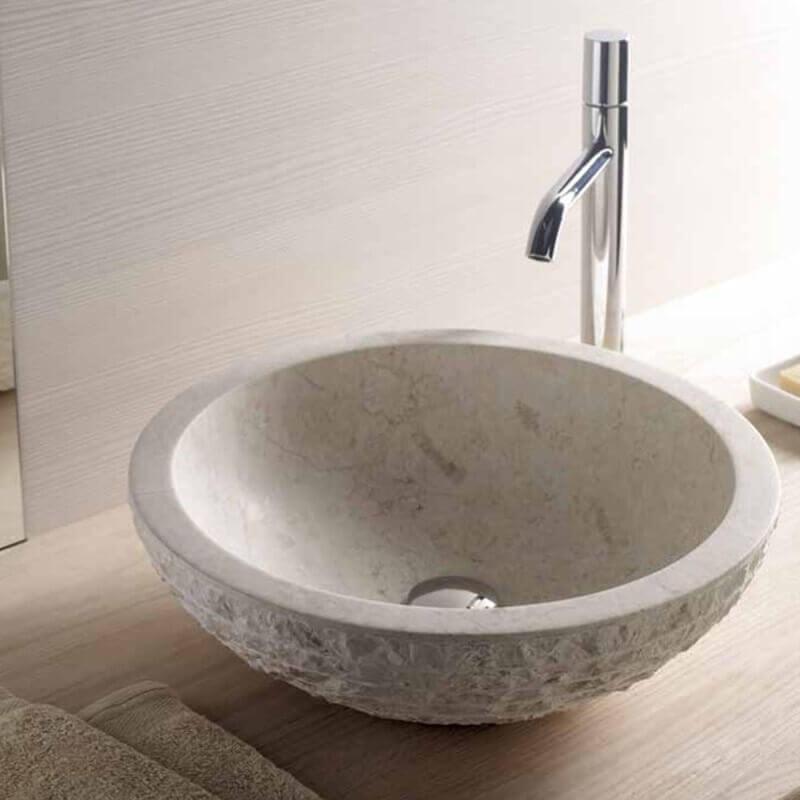 vasque a poser en pierre Vasque à poser bol pierre beige | Rue du Bain. Loading zoom