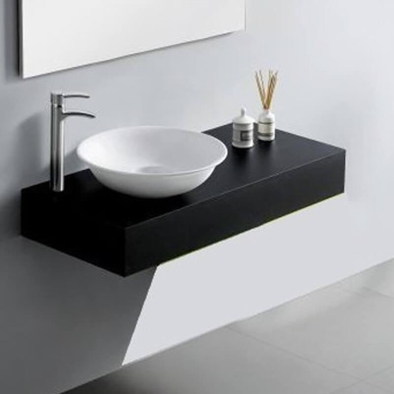 Plan vasque salle de bain bois laqu noir 90x50x15 cm artcolor for Plan vasque salle de bain
