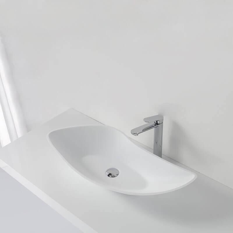 grande vasque poser asym trique blanc mat 80x38 cm composite ondea. Black Bedroom Furniture Sets. Home Design Ideas