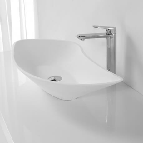 grande vasque poser asym trique blanc mat 80x38 cm. Black Bedroom Furniture Sets. Home Design Ideas