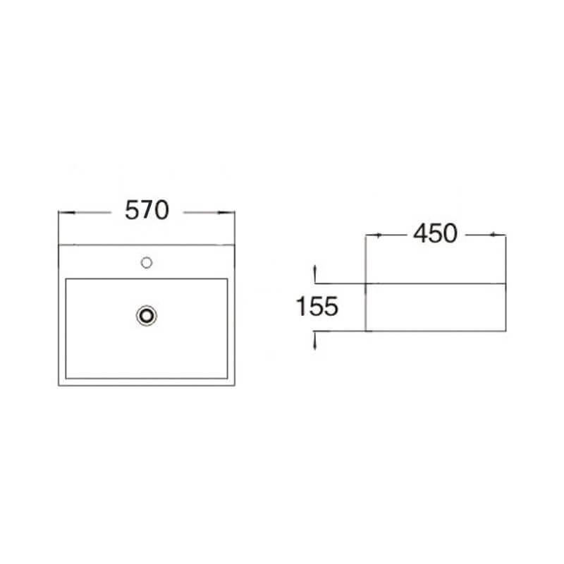 Vasque Céramique à Suspendre Avec Plage Latérale : Vasque rectangulaire square à poser céramique