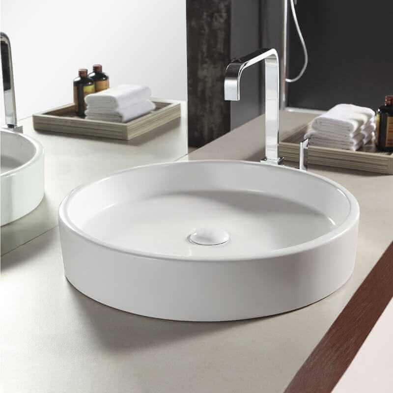 vasque poser ronde c ramique fame vente de vasques blanches. Black Bedroom Furniture Sets. Home Design Ideas
