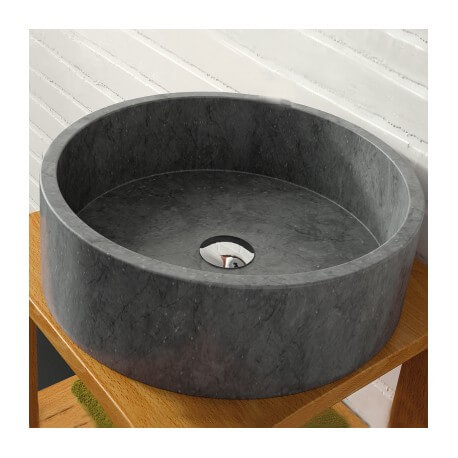 Vasque à poser ronde pierre naturelle noire Aloha | Rue du Bain