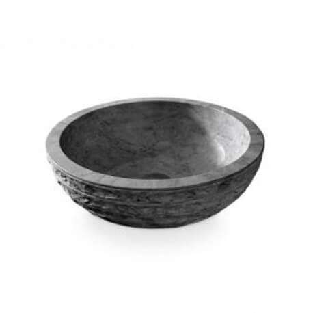Vasque à poser ronde pierre naturelle noire  Strass | Rue du Bain
