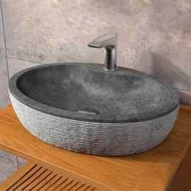 Vasque à poser ovale pierre naturelle noire Groove | Rue du Bain