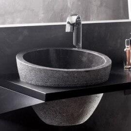 Vasque à poser bol pierre Noire , 40x40, Deco