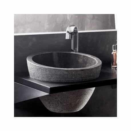 vasque poser bol asym trique pierre noire 40x40 deco. Black Bedroom Furniture Sets. Home Design Ideas