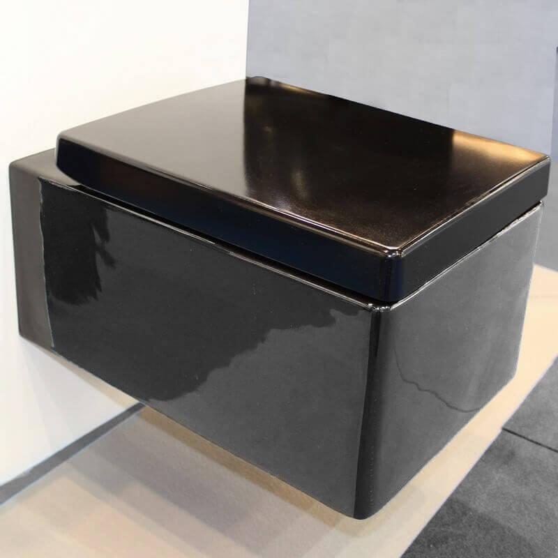 wc rectangulaire kube cuvette wc suspendus noir rue du bain. Black Bedroom Furniture Sets. Home Design Ideas