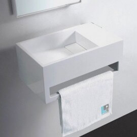 Lave Main avec porte serviette Blanc Brillant, 48x30 cm, Composite, Wishe