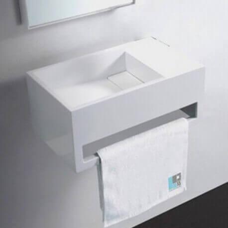 Lave Main avec porte serviette Blanc Mat, 48x30 cm, Composite, Wishe