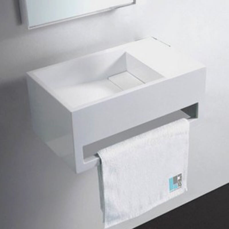 lave main design porte serviette corian blanc brillant 48x30 cm wishe. Black Bedroom Furniture Sets. Home Design Ideas