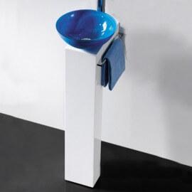 Piédestal bois laqué pour vasque à poser