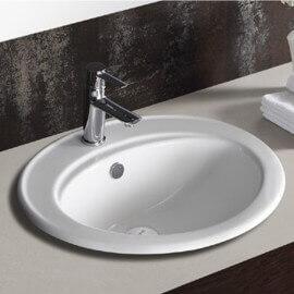Vasque ovale encastrable céramique - 56x48cm - Nea