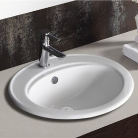 Vasque à poser ovale encastrable céramique Nea | Rue du Bain