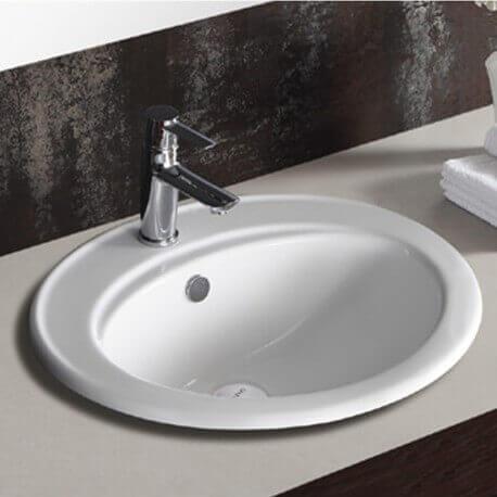 vasque encastr e ovale 56x48x20 cm c ramique blanc nea. Black Bedroom Furniture Sets. Home Design Ideas