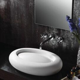 Vasque à poser, ovale 65x46 cm, céramique blanche, Délice