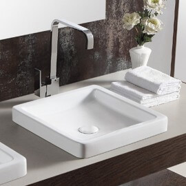 Vasque semi-encastrée, carrée, 40x40 cm, céramique blanche, Temp