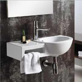 Lave main avec porte serviette rectangulaire - 63x39cm - céramique blanche - Atena